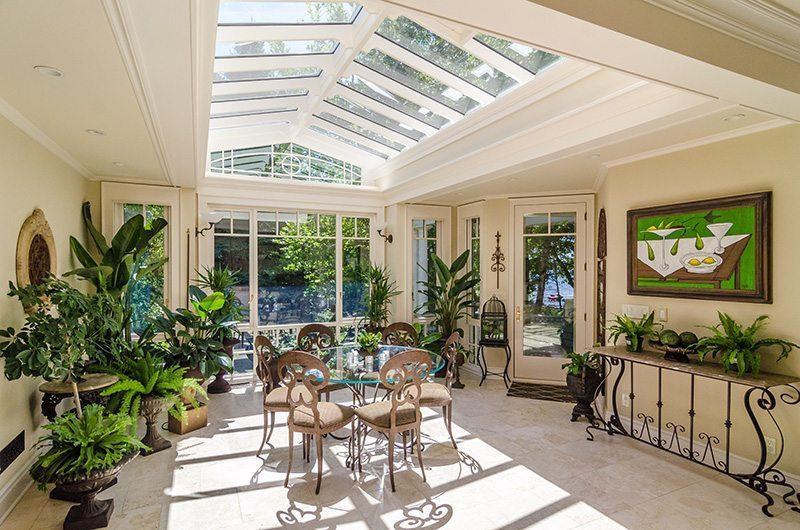 Orangery ceiling and glass